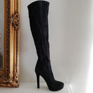 9280c6b2b9122 Miu Miu Over the Knee Suede Boots Black Size 38 5